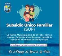 LLAMAN A RENOVAR SUF A FAMILIAS DE EL TABO