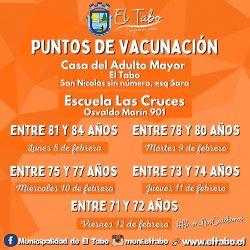 Continua vacunación En El Tabo de acuerdo a estricto calendario del MINSAL