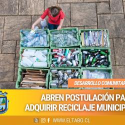 Abren postulación para adquirir Reciclaje Municipal